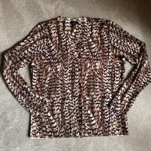 Talbots Merino Wool Cardigan Petite M Tiger print